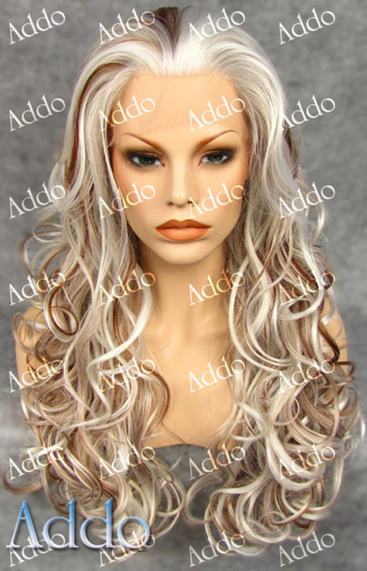 Fancy Bright Blonde Ombre Long Wavy Synthetic Curly Hair