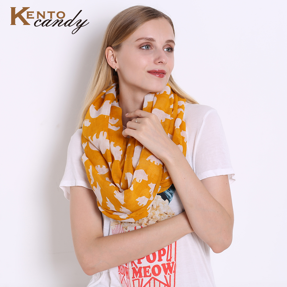 Jeouly yellow bear animals Infinity   Scarf   lady For Women   scarves   loop autumn winter shawl ring   scarf   female   wrap
