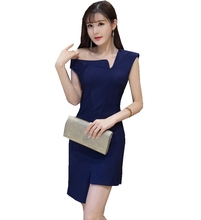 New Fashion summer women solid color sexy One-Shoulder Asymmetrical-neck Slim fit party club sexy mini sheath dress alluring round neck one shoulder club dress for women