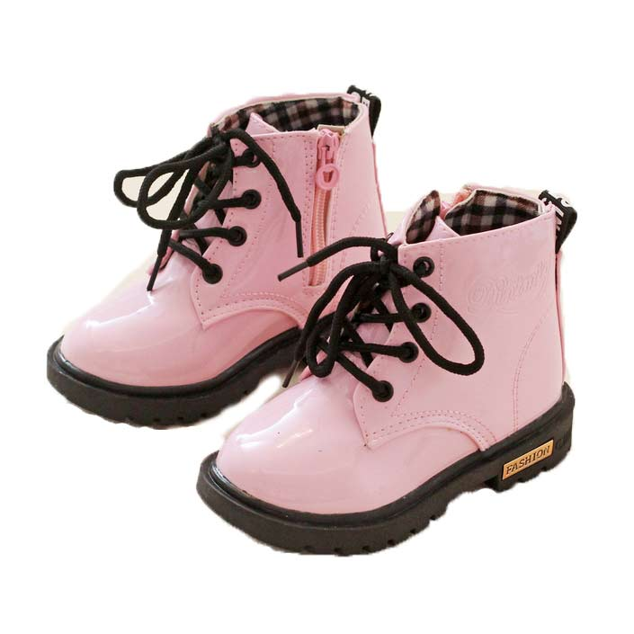 2016 Kids Shoes Girls Boys PU Leather Lace Up High Children Boots Girl Baby Shoes Sport Autumn Winter Children Snow Boots ...