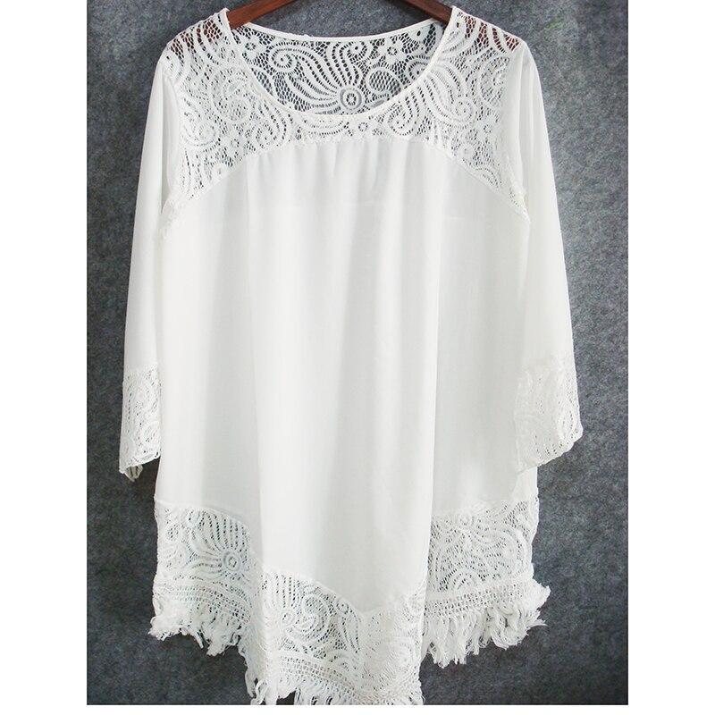 Plus size O neck Lace Patchwork Mini Beach dress Sexy Tunic for Beach 2019 vestidos cortos Casual Dress White Black Women Dress