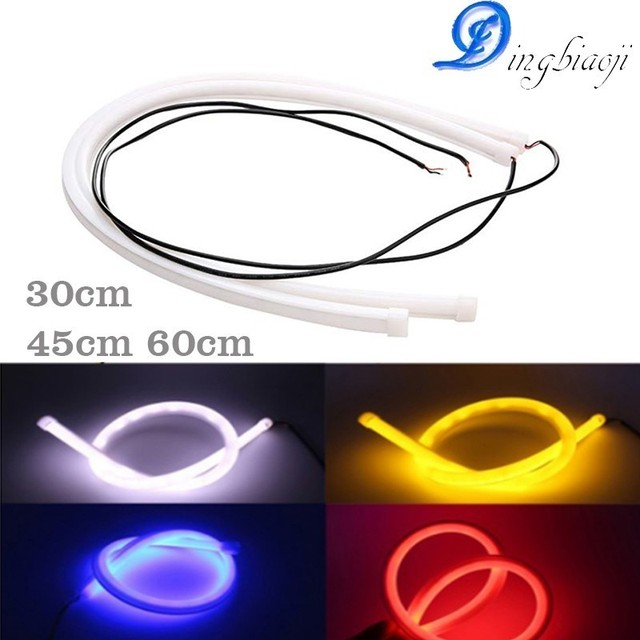2 pieces / lot 30 cm 45 cm 60 cm DRL flexible LED tube strip Clearance lights Angel eyes car styling White / yellow / blue