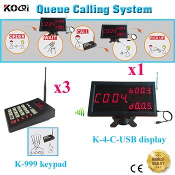 Number Waiting System 433.92MHZ Ycall Chinese Restaurant And Western Restaurant Coffee Bar, KTV Nightclub 1 Display+3 Ke
