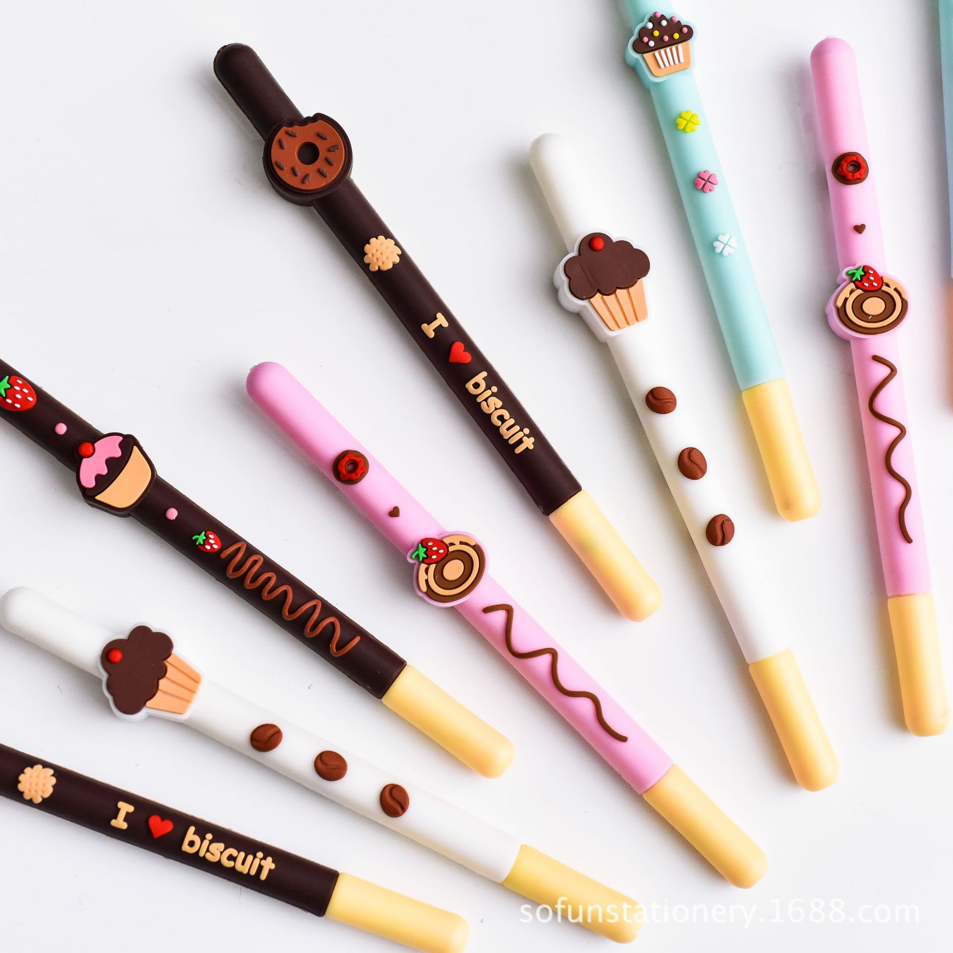 40 Pcs/Lot Chocolate Biscuit Pen Yummy Cake Donut 0.5mm Roller Pen Black Color Ink Signature Stationery School Supplies