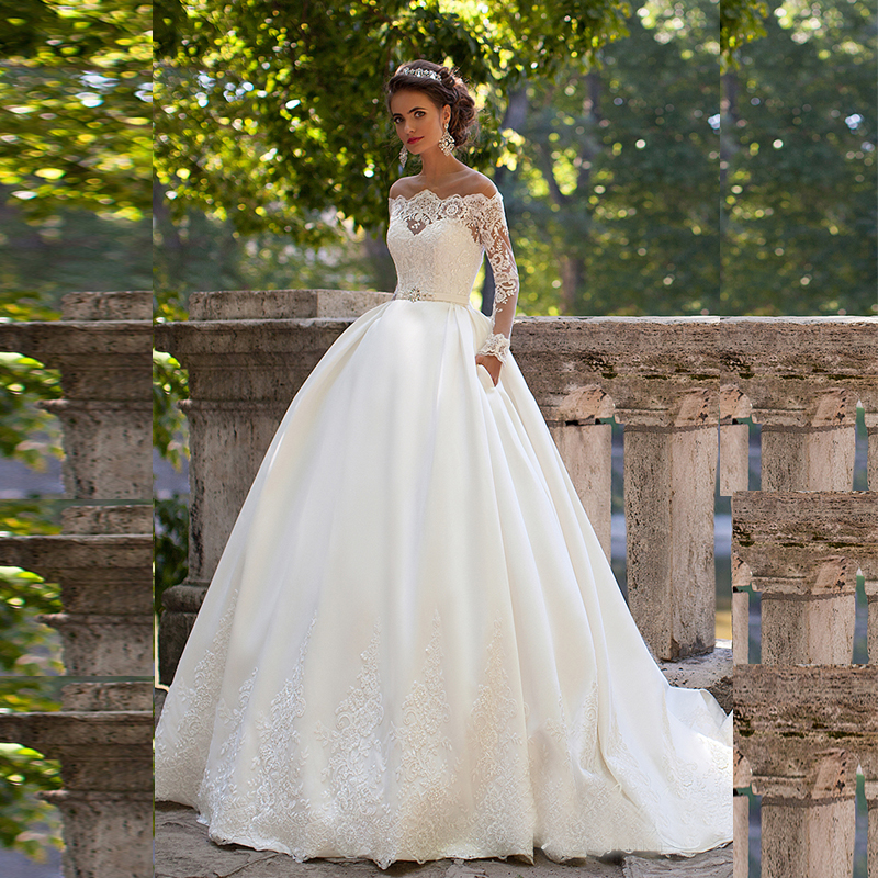 Wedding Gown With Pockets: Elegant Empire Boat Neck Wedding Dresses Full Sleeve Lace
