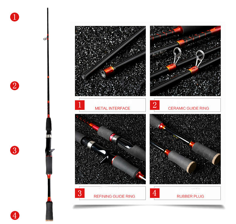 ML/ MH Power 2 Tips 2 SEC Blue Casting Lure Rod 2.1m Gift Fishing Rod Carbon Fishing Tackle Snakehead Rod (red/casting)