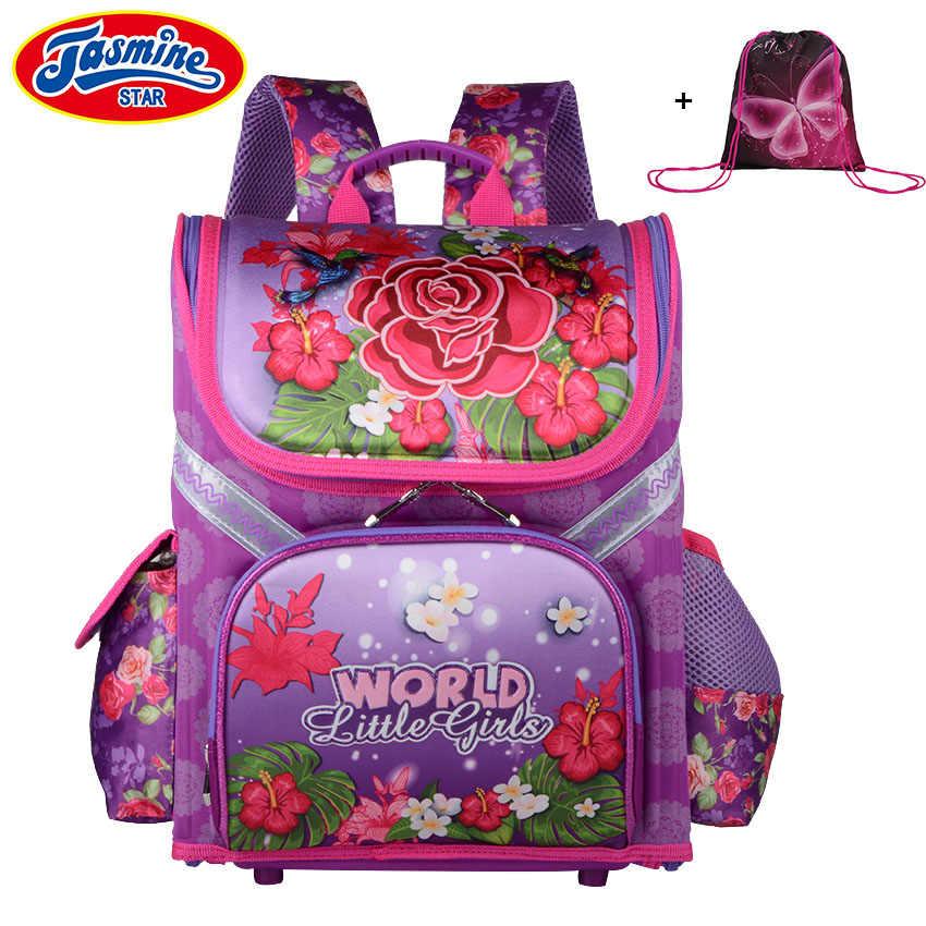b7cedc3b5ab0 JASMINESTAR Класс 1-3-5 для девочек рюкзак школьный 2018 Новые Детские розы  ортопедические