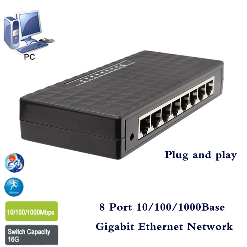 High speed 8 Porte di Rete Gigabit Switch 10/100/1000 Mbps Fast Ethernet Switcher Lan Hub Full/Half duplex Scambio