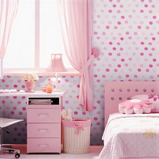 vinyl self adhesive wallpaper cute dots bedroom background 12893 | vinyl self adhesive wallpaper cute dots bedroom background wall papers pink blue waterproof for home decoration