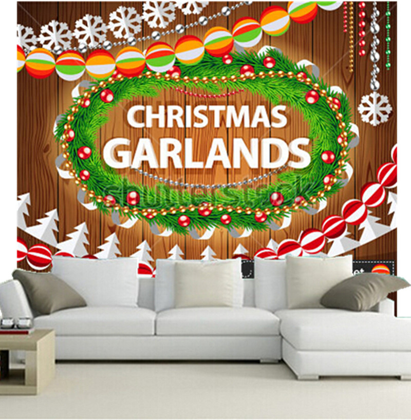 The custom 3D murals,Christmas Garlands Set on Wood Background for Celebratory Design,living room sofa TV wall bedroom wallpaper 3d wood man football background 3d wallpaper murals living room bedroom study paper 3d wallpaper
