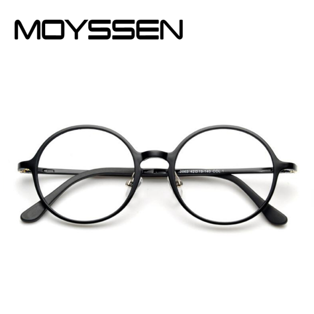 43cda7f09bd MOYSSEN Korean Fashion Men Nerd Tungsten Vintage Round Eyeglasses Women  Retro Geek Plastic Steel Optical Reading Glasses Frame