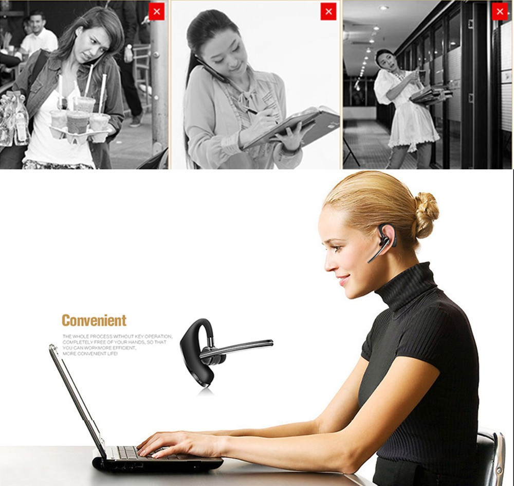 Handsfree business bluetooth headset with mic sweatproof voice control headphone for sports driving  noise cancelling earphone (1)