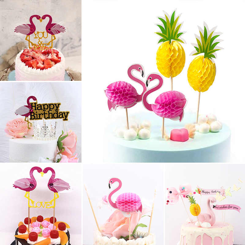 Fashion Birthday Cake Insert Card 1pc 2pcs Hawaii Style Flamingo Baking Decorations Pineapple