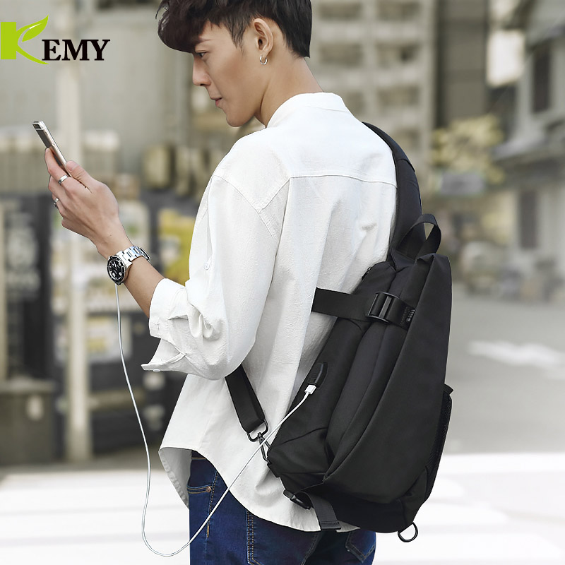 KEMY New Arrival Crossbody Bags Men Chest Pack Short Trip Messengers Bag Waterproof Shoulder Bag USB Sling Bag For Ipad Pocket 3