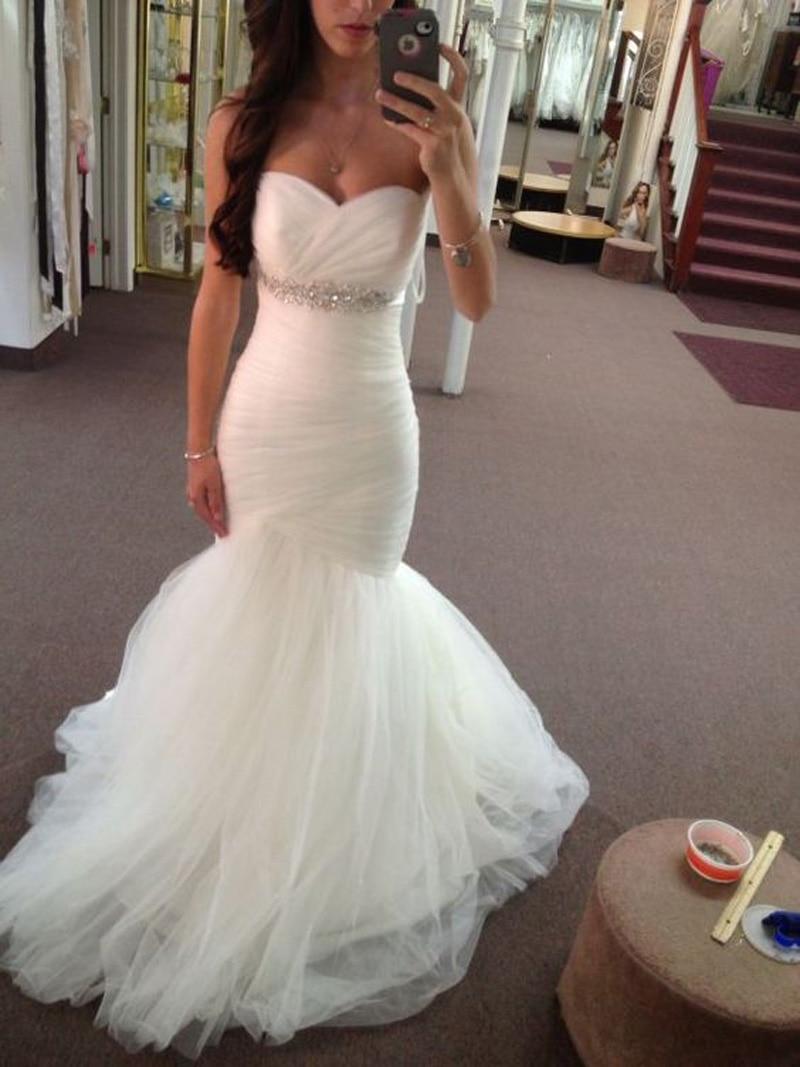 Sweetheart Neck Beads Mermaid Wedding Dresses Plus Size Sleeveless Backless Pleat Bridal Gown Vestido De Novia Robe Mariage 2019