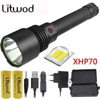 Z201512 Litwod high powerful Tactical defense LED flashlight torch light CREE XHP70 chip power by 18650 or 26650 Battery Lantern