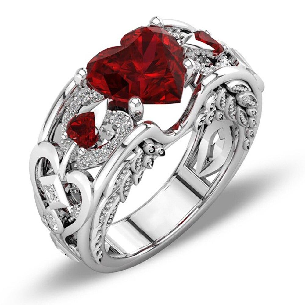 100% Wahr Top Qualität Silber Natürliche Birthstone Braut Hochzeit Engagement Herz Ring Mann Oder Frau Geschenk Engagement Ring #25 Attraktiv Und Langlebig