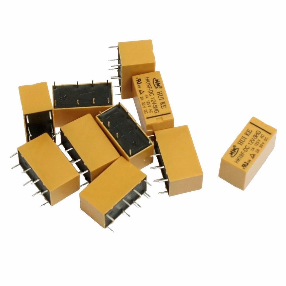 цена на DC 5V/9V/12V/24V Coil DPDT 8 Pin Electromagnetic Relays PCB Type HK19F 2NO 2NC