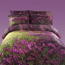 3D purple lavender bedding set king queen size 100% cotton bedspread bed in a bag flat sheet quilt cover free shipping