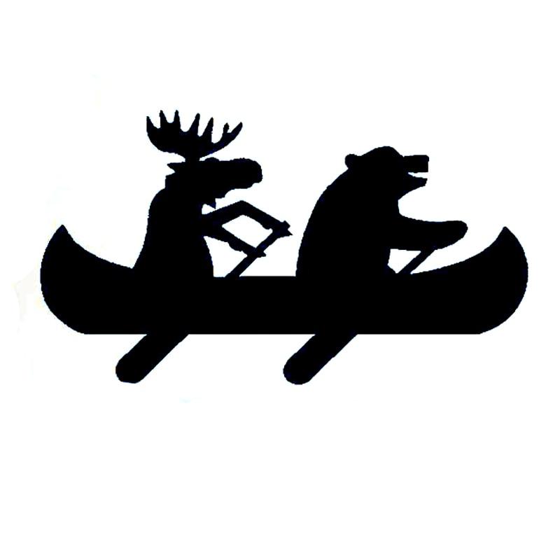 15.4CM*8.7CM Interesting Moose Bear Canoe Decal Vinyl Car Sticker S9-0334