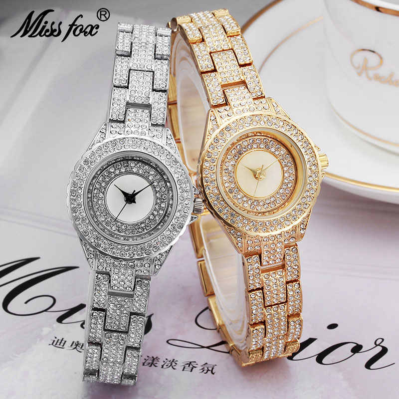 MISSFOX Miss Fox Brand Fashion Ladies Watches Top Brand Luxury Women Watches Sliver Quartz Watch Women Gold Relogios Femininos