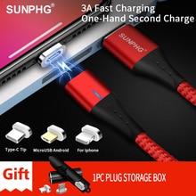 SUNPHG caricabatterie per cavo magnetico 3A per telefono cellulare 2m Micro USB cavo di ricarica rapida tipo C per iPhone Lightning xs xr Samsung S9