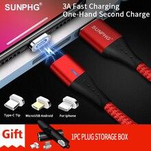 Sunphg carregador de cabo magnético de m, 3a, micro usb tipo c, carregamento rápido, cabo de dados para iphone lightning xs xr samsung s9