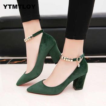 2019 Spring Autumn Women Pumps Sexy buckles High Heels Shoes Fashion Pointed Toe Wedding Party  Square Heel  String Bead 1