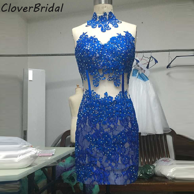 Fotos reais azul real vestido de festa curto de renda com beading tomara que caia short royal lace   cocktail     dress