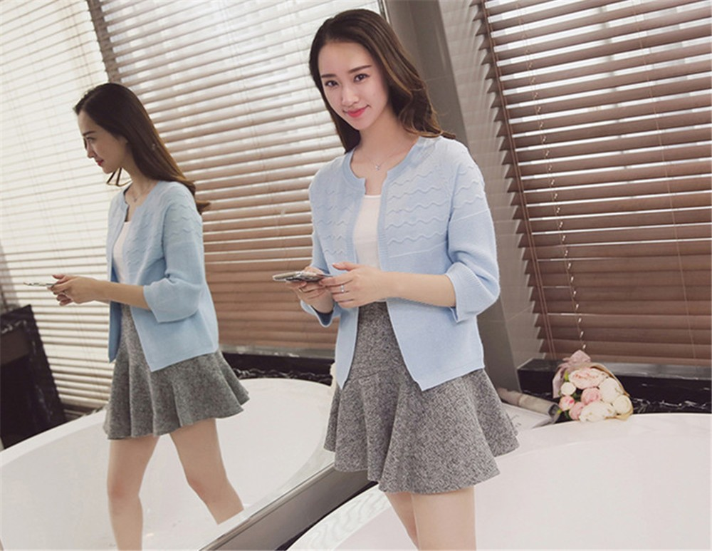 2016 Spring&Autumn Casual Sweater Women Cardigan Sweater Solid Color Open Stitch Women\'s Cotton Knitted Outerwear Sweater (5)