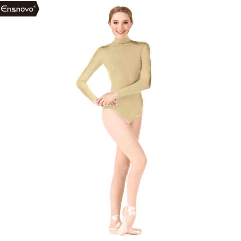 Ensnovo Leotard for Women Gymnastics Ballet Dancewear Lycra Leotard Ballet Female Dancewear Jumpsuits Longsleeve Lady Bodysuit