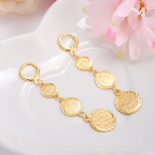 2pairs Hot Sale 24K Gold Earring gold coin earrings muslim islamic
