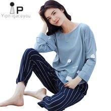 28b2a210d3 Spring Autumn Women Home Clothes Pyjamas Two piece 100% otton Pijama Plus  size Pajama Set Female Sleepwear Kawaii Nightwear XXL