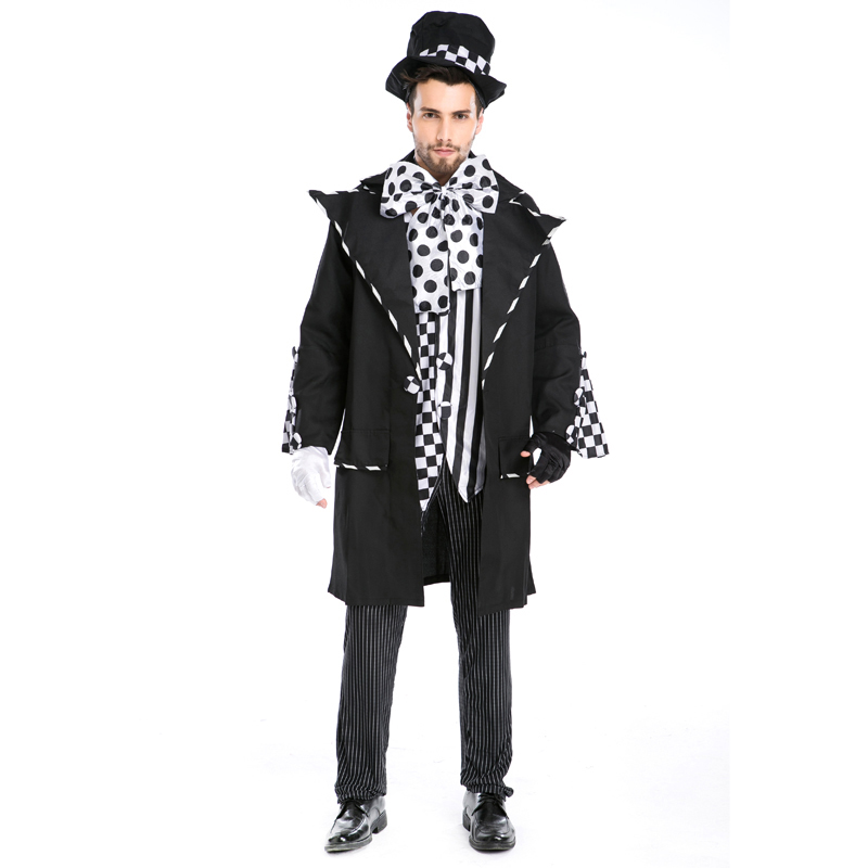 Adult Alice In Wonderland Mad Hatter Costume For Men Halloween Witch Dress Sexy Magician Costume Magic Show Wear A155801