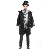 Adult Alice In Wonderland Mad Hatter Costume For Men Halloween Witch Dress Sexy Magician Costume Magic