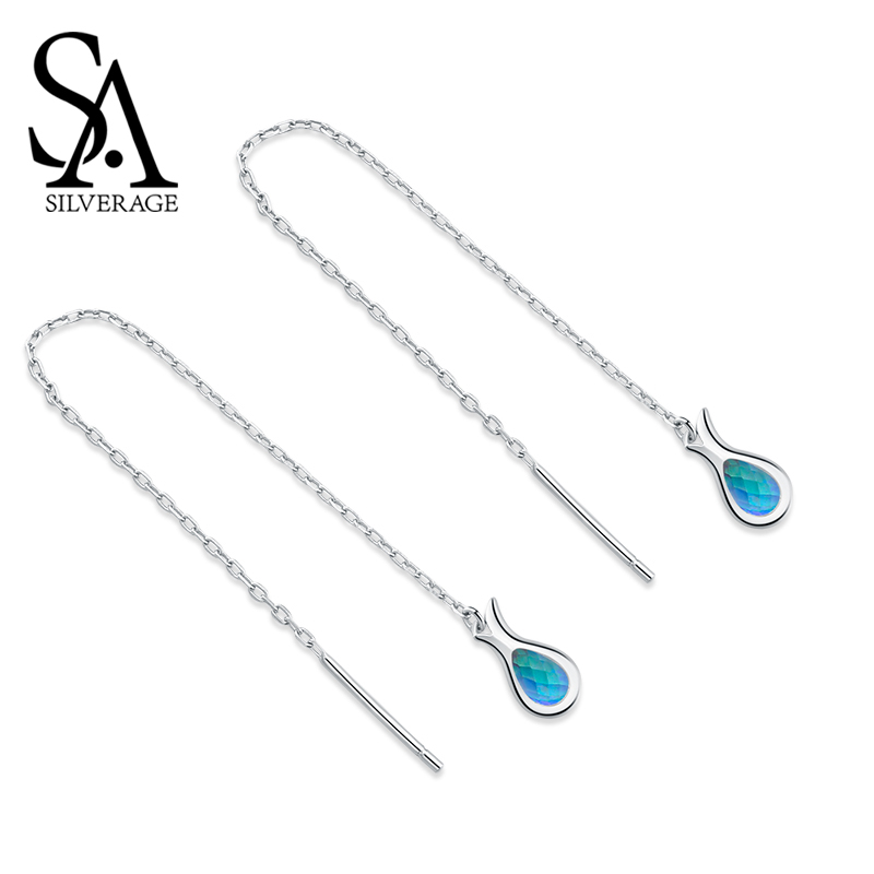 SA SILVERAGE S925 Sterling Silver Earrings Korea Long Pendant Mermaid Series Feminine Tassel Long Earrings Drop Women Jewelry in Earrings from Jewelry Accessories