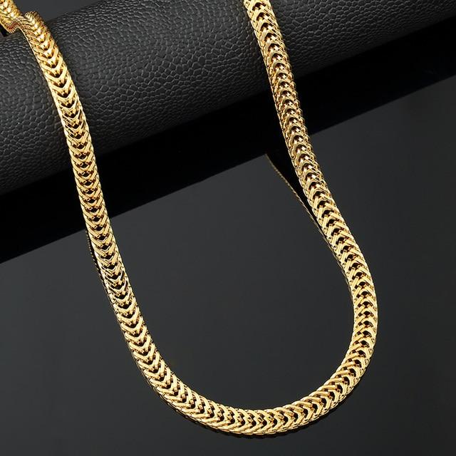 30f2f0b6826c Hip Hop collar de oro moda trigo oro Cadenas Collares hombres joyería gold  filled moda 75
