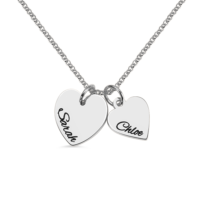 Gros collier en argent couleur coeur amour collier Double entendre charme personnalisé collier en argent Sterling pour les Couples