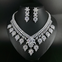 New fashion luxury retro romantic crystal flowers zircon necklace earring set,wedding bride dinner party formal jewelry set who who sell out