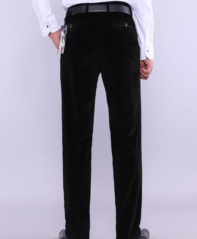 Мужские брюки Spirng, большие размеры, повседневные, на молнии, фланелевые, прямой максимальной длины, мужские зимние свободные брюки на молнии - Цвет: 1