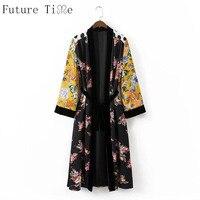 Future Time Women Retro Spliced Floral Loose Kimono Shirts Sashes Side Split Pockets Long Sleeve Ladies