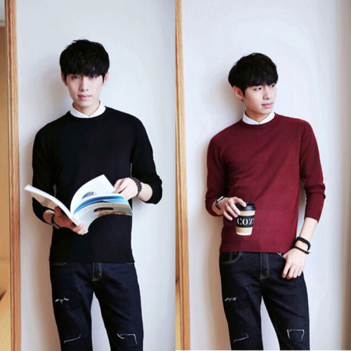 Men's Casual Cotton Warm Round Neck Long Sleeve Knitted Solid Color Sweater