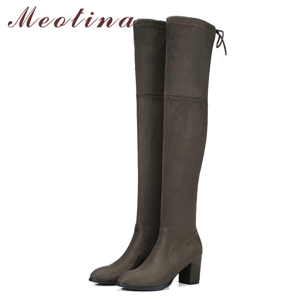 Meotina/ботфорты выше колена женские высокие сапоги на высоком толстом каблуке высокие сапоги на шнуровке серый, черный цвет, большие размеры 34-43