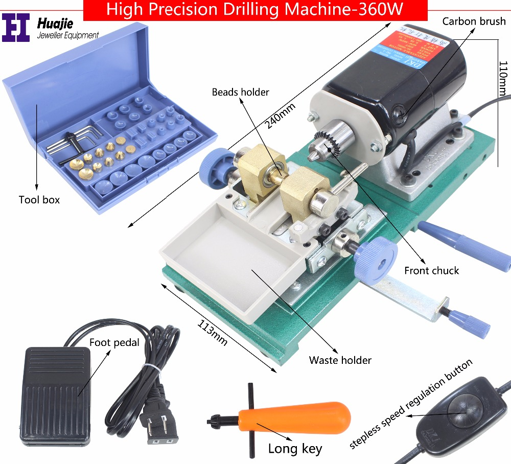 Freeshipping 360W Mini Pearl Bead Drilling Machine, Amber Holing Machine, Jewelry Drill Tool & Equipment Set
