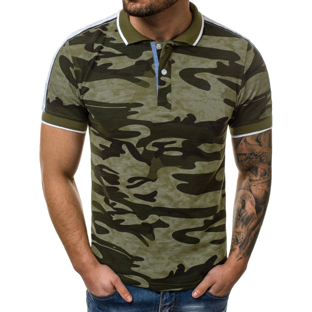 SHUJIN Casual Camouflage Slim Fit   Polo   Shirt Men Short Sleeve Cotton Camo Tee Tops 2019 Brand Turn Down Collar Shirts Male