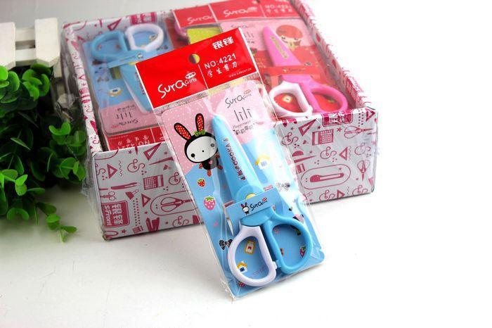 2 Pcs / Lot Children Handmade DIY Card Album Clipboard Plastic Safety Scissors School Diary Handicrafts Sewing Scissors