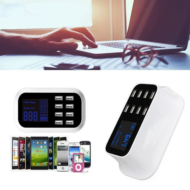 hot-8-Port Portable USB Hub Fast Charger Power Adapter with Smart IC Auto Detect Tech 4