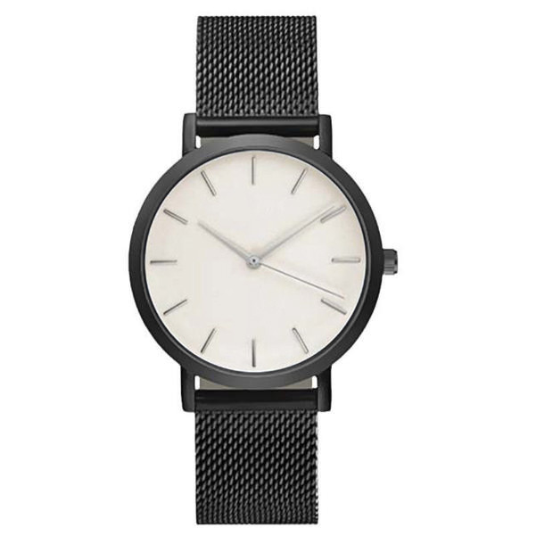 Quartz Women Watch Crystal Stainless Steel Black