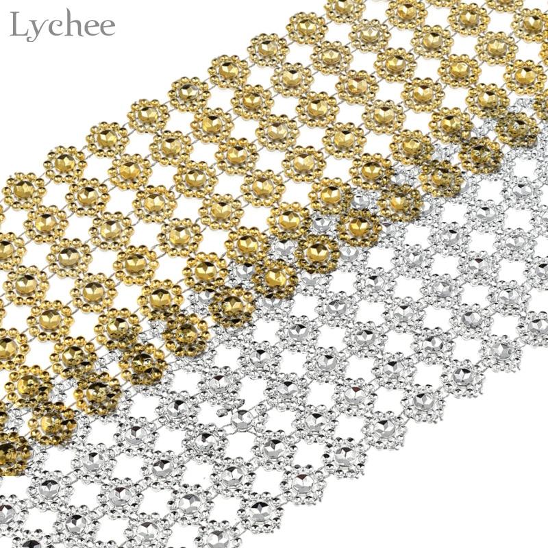 Lychee 1 Yard Sunflower Diamond Mesh Rhinestone Crystal Ribbon DIY Handmade Wedding Birthday Party Decoration Supplies