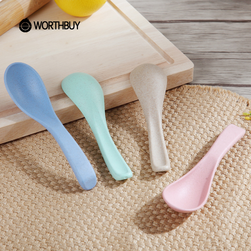 WORTHBUY 4 Pcs/Set Mini Wheat Straw Spoon Eco-Friendly Plastic Long Handled Soup Coffee Spoon Kitchen Accessories For Kids Gift